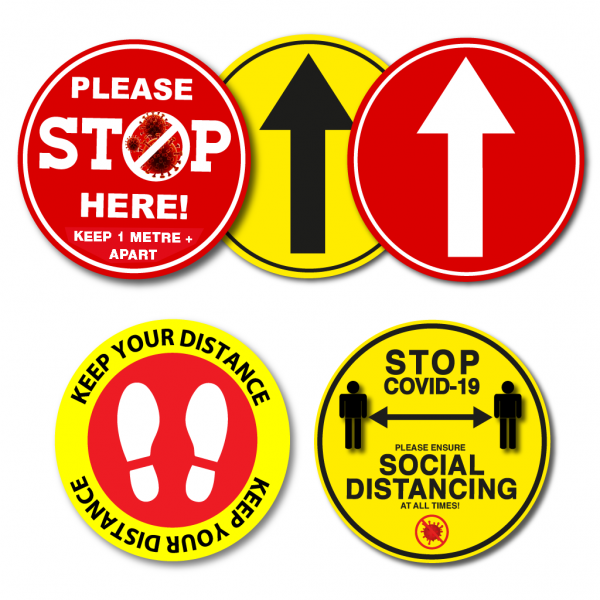 Coronavirus Covid 19 Social Distancing Floor Stickers Circle - Belfast Print Online, NI