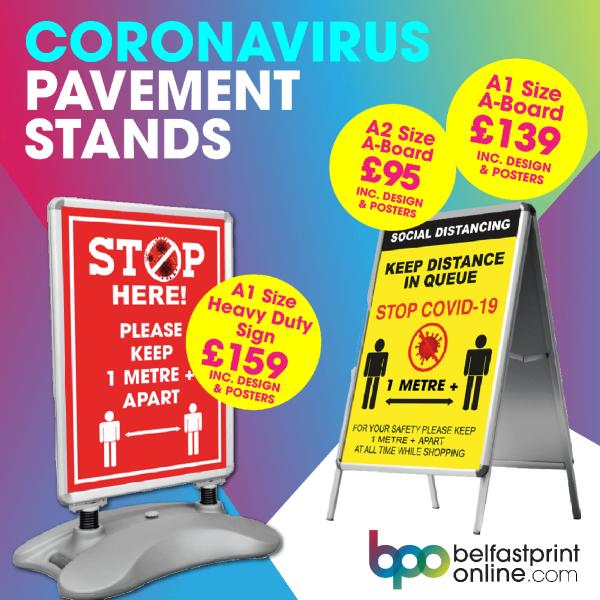 Coronavirus Outdoor Sign Posters Northern Ireland - Belfast Print Online