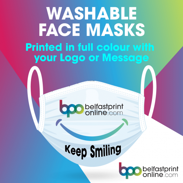 Coronavirus - Reusable Washable Face Masks - Printed full colour with your logo - Belfast Print Online
