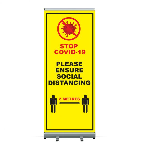 Coronavirus COVID 19 Social Distancing Pull Up Roller Banner - Belfast Print Online