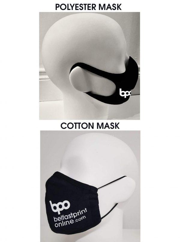 Custom Face Masks - Type 1 - Cotton or Polyester Masks - Belfast Print Online
